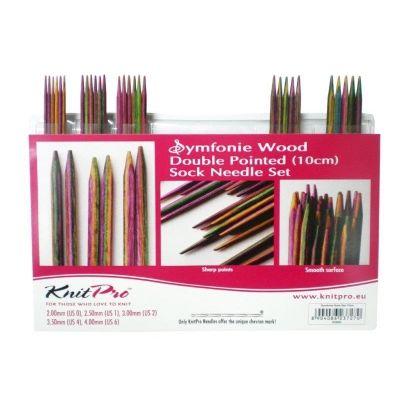 """20650 Knit Pro Набор чулочных спиц """"Symfonie"""" 10см 2мм, 2,5мм, 3мм, 3,5мм, 4мм, дерево, многоцветный, 5 видов спиц"""