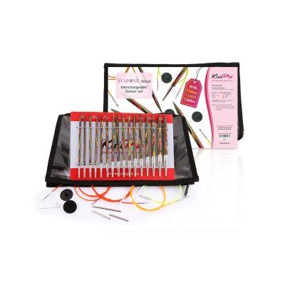 "20613 Knit Pro Набор ""Deluxe Set"" съемных спиц ""Symfonie"" 3,5-8мм, тросик 60см, 80см, 100см, 120см, дерево, 8 видов спиц"