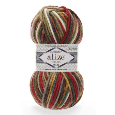 Superlana Maxi Multicolor (шерсть 25%, акрил 75%) (100гр. 100м.)*5 мотков